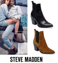 Steve Madden Casual Style Street Style Plain Leather Block Heels