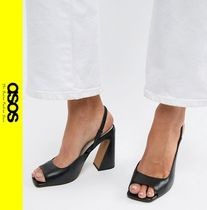 ASOS Casual Style Leather Block Heels Block Heel Pumps & Mules