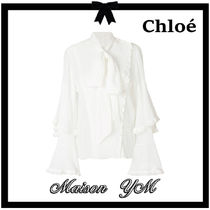 Chloe Silk Long Sleeves Plain Party Style Shirts & Blouses