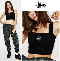 STUSSY Short Casual Style Sleeveless Plain Cotton Tanks & Camisoles