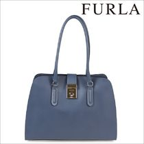 FURLA Street Style Plain Leather Office Style Totes