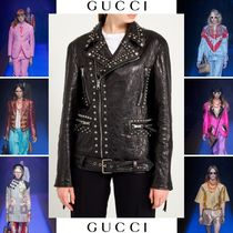 GUCCI Short Casual Style Studded Street Style