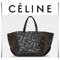CELINE Casual Style 2WAY Bi-color Leather Oversized Totes