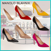 Manolo Blahnik Plain Leather Pin Heels Elegant Style