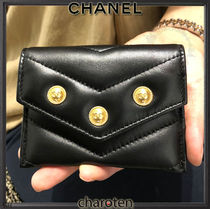 CHANEL ICON Unisex Lambskin Blended Fabrics Plain Small Wallet