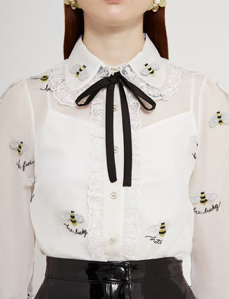 Silk Other Animal Patterns Long Shirts & Blouses
