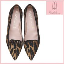Pretty Ballerinas Leopard Patterns Velvet Ballet Shoes