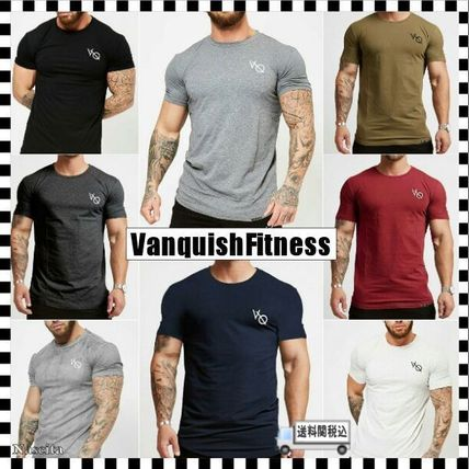 VANQUISH FITNESS Crew Neck Crew Neck Street Style Plain Cotton Short Sleeves 2