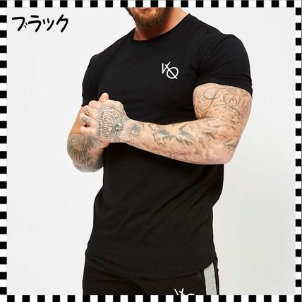 VANQUISH FITNESS Crew Neck Crew Neck Street Style Plain Cotton Short Sleeves 3
