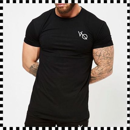 VANQUISH FITNESS Crew Neck Crew Neck Street Style Plain Cotton Short Sleeves 4