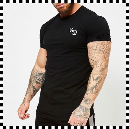 VANQUISH FITNESS Crew Neck Crew Neck Street Style Plain Cotton Short Sleeves 5