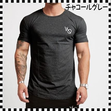 VANQUISH FITNESS Crew Neck Crew Neck Street Style Plain Cotton Short Sleeves 6