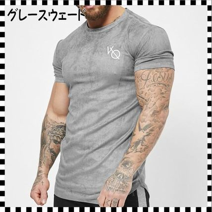 VANQUISH FITNESS Crew Neck Crew Neck Street Style Plain Cotton Short Sleeves 7