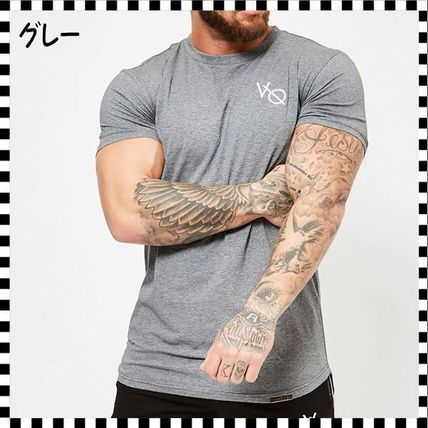 VANQUISH FITNESS Crew Neck Crew Neck Street Style Plain Cotton Short Sleeves 8