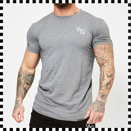 VANQUISH FITNESS Crew Neck Crew Neck Street Style Plain Cotton Short Sleeves 9