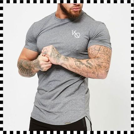 VANQUISH FITNESS Crew Neck Crew Neck Street Style Plain Cotton Short Sleeves 10