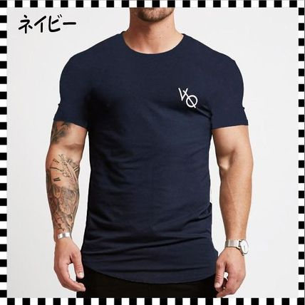 VANQUISH FITNESS Crew Neck Crew Neck Street Style Plain Cotton Short Sleeves 11