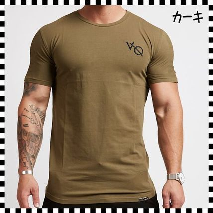 VANQUISH FITNESS Crew Neck Crew Neck Street Style Plain Cotton Short Sleeves 12