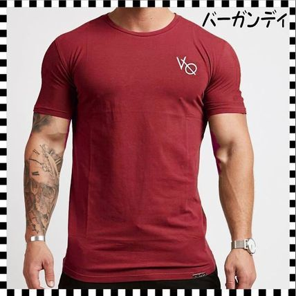 VANQUISH FITNESS Crew Neck Crew Neck Street Style Plain Cotton Short Sleeves 13
