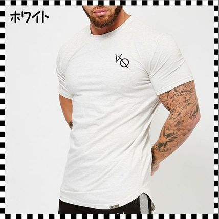 VANQUISH FITNESS Crew Neck Crew Neck Street Style Plain Cotton Short Sleeves 14