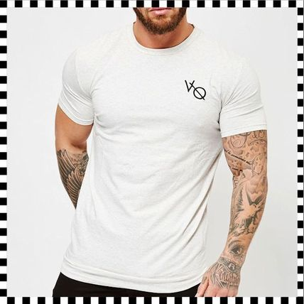 VANQUISH FITNESS Crew Neck Crew Neck Street Style Plain Cotton Short Sleeves 15