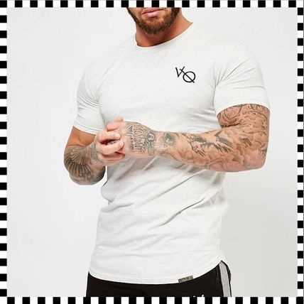 VANQUISH FITNESS Crew Neck Crew Neck Street Style Plain Cotton Short Sleeves 16