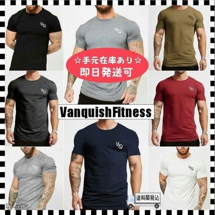 VANQUISH FITNESS Crew Neck Crew Neck Street Style Plain Cotton Short Sleeves