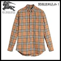 Burberry Button-down Gingham Tartan Street Style Long Sleeves Cotton