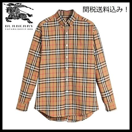 Button-down Gingham Tartan Street Style Long Sleeves Cotton