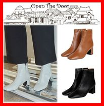 OPEN THE DOOR Casual Style Street Style Mid Heel Boots