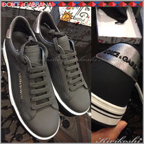 Dolce & Gabbana Stripes Blended Fabrics Leather Sneakers