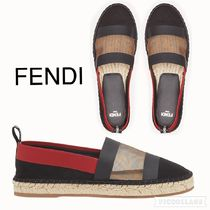 FENDI Plain Toe Rubber Sole Casual Style Pointed Toe Shoes