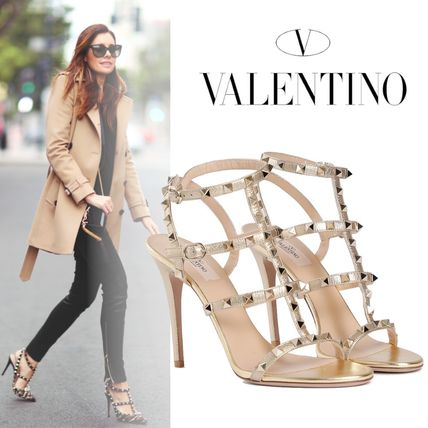 7a4d5139a79 VALENTINO Open Toe Studded Plain Leather Pin Heels Elegant Style by  Kamile.Y - BUYMA