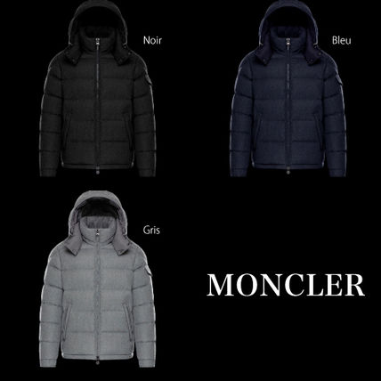 MONCLER MONTGENEVRE Short Wool Blended Fabrics Plain Logo Down Jackets