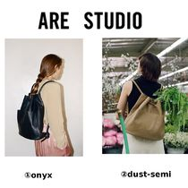 ARE STUDIO Casual Style 3WAY Plain Leather Backpacks