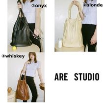 ARE STUDIO Casual Style Plain Leather Purses Totes