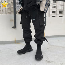 Unisex Street Style Plain Cotton Cargo Pants