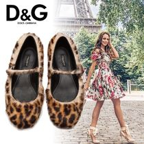 Dolce & Gabbana Leopard Patterns Round Toe Faux Fur Pointed Toe Shoes