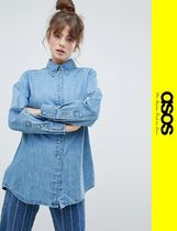 ASOS Casual Style Denim Long Sleeves Oversized Shirts & Blouses