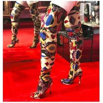Christian Louboutin Platform Round Toe Leather Elegant Style Over-the-Knee Boots