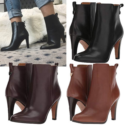 Plain Leather Pin Heels Elegant Style High Heel Boots