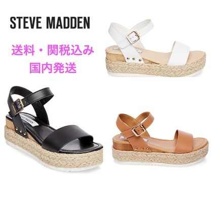 2a43f1a2567 ... Steve Madden Platform   Wedge Open Toe Casual Style Blended Fabrics  Plain Leather ...