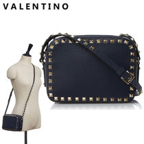 VALENTINO Studded Plain Leather Party Style Shoulder Bags