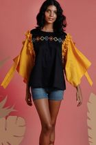URBAN ISLAND Tropical Patterns Cropped Cotton Medium Party Style Fringes