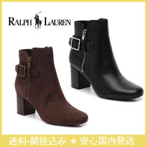 Ralph Lauren Plain Leather Block Heels Ankle & Booties Boots