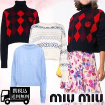 MiuMiu Crew Neck Cable Knit Argile Casual Style Wool Long Sleeves