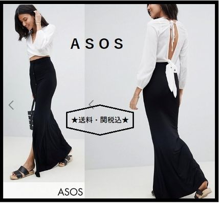 Pencil Skirts Casual Style Plain Long Maxi Skirts
