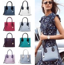 Michael Kors MERCER Street Style 2WAY Bi-color Plain Leather Elegant Style