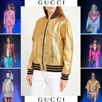 GUCCI Short Star Casual Style Street Style Leather Jackets