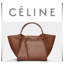 CELINE Casual Style 2WAY Plain Leather Oversized Handbags